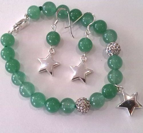 Green Jade Ear-Rings with Silver Stars